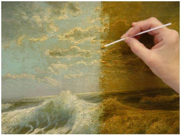 A painting under restoration.