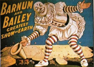 1917 – Barnum & Bailey; Clown Standing over Tents – Blue Background