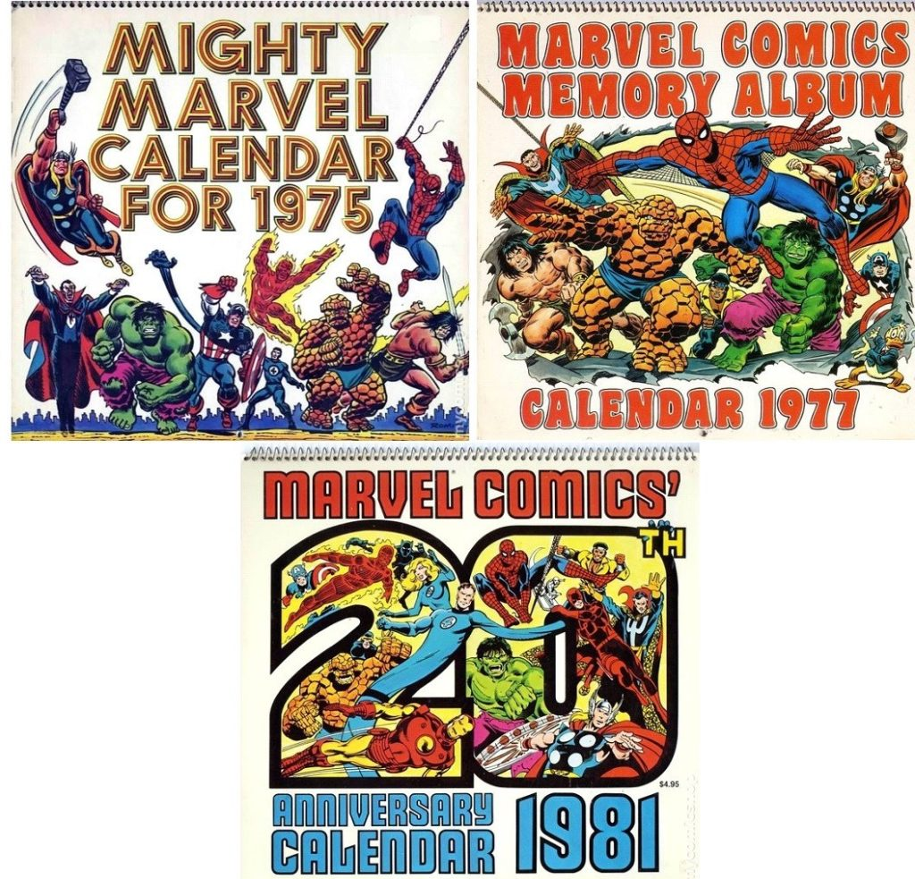 Some of the first three Marvel Comics calendars, including the original 1975 version.