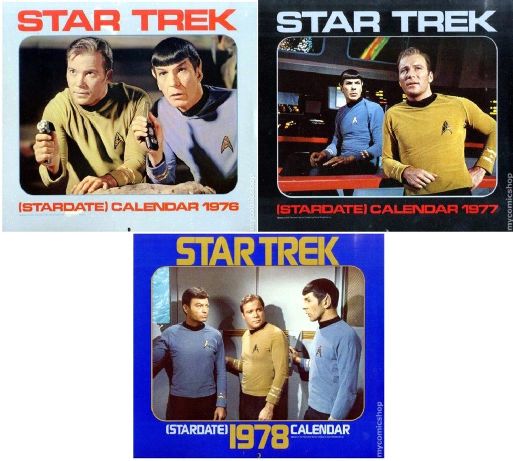 "The first three ""Star Trek"" calendars, 1976-1978"