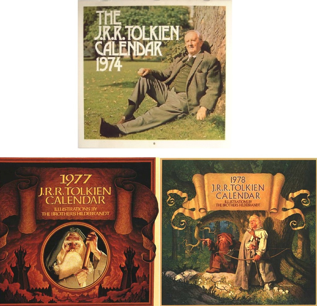 J.R.R. Tolkien calendars from late 1977 and 1978 with artwork by Greg and Tim Hildebrandt, and a 1974 calendar picturing the creator.