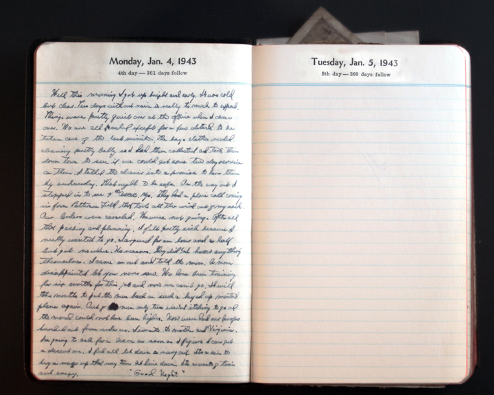 January 4, 1943 Diary Page  (click to enlarge)