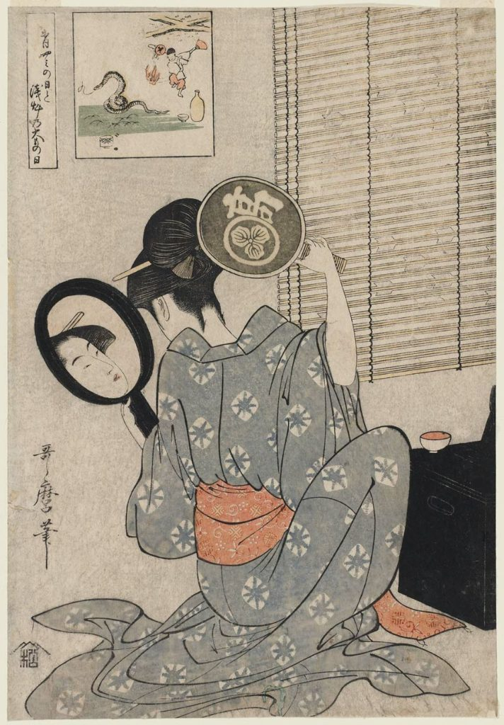 """""""Takashima Ohisa Using Two Mirrors to Observe Her Coiffure – Night of the Asakusa Marketing Festival."""""""