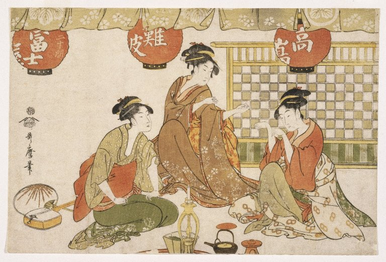 """Kitagawa Utamaro (1753-1806) depicted late 18th- and early 19th-century Japan. The print above it titled """"Three Seated Ladies with Lanterns."""""""
