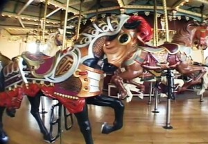 "All of the horses on the Philadelphia Toboggan Company Carousel #51, as the Elitch Gardens carousel is known, were hand-carved by master Old World craftsmen. The ""PTC"" initials are visible on the horse's shoulder."