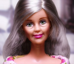 An artist's depiction of a naturally aged 50-year-old Barbie