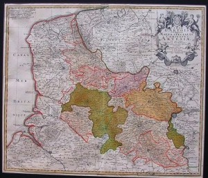 Antique military map of northern France
