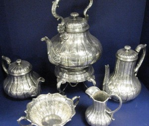 An antique Victorian, silver tea & coffee set by Paul Lamerie.