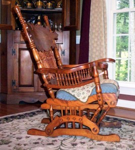 A Lowentraut rocker, featuring a springless rocker mechanism designed by George F. Hall. This kind of rocker produced a flatter arc and was ideal for nursing and general recuperation, as well as being plain old comfortable in its motion.
