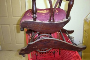 This type coil spring rocker was patented in 1897 by a man named A.H. Schram of Sheboygan, Wis.