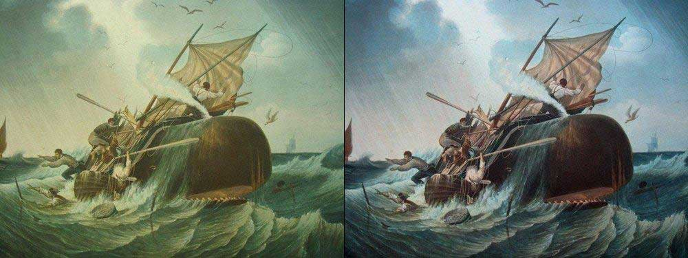 An oil painting before restoration and after restoration. The difference is clear.
