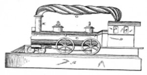 This is a copy of a drawing of the iron from the original E.B. Crosby patent; many changes appear to have been made to make the iron much more functional. The turned wood handle has a wonderful appearance in the drawing, but would have played havoc and caused many blisters on the user's hand.