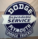 "Dodge-Plymouth ""Dependable Service With Dodge Trucks"" double-sided porcelain sign brought in $4,620."