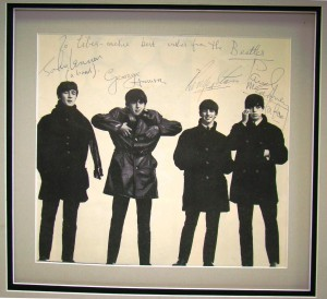 Another item to garned a lot of interest is this large photo of the Beatles, signed by all four members and personalized to Liberace.