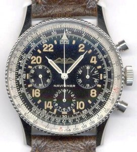 "The Breitling Navitimer ""Cosmonaute"" with its black dial."