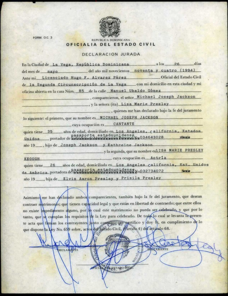 The official signed marriage certificate issued to Michael Jackson and Lisa Marie Presley in the Dominican Republic in 1994 will be the top item up for bid in a Jan. 22-24 auction hosted by Philip Weiss Auctions.