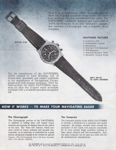 "An advertisement for the Breitling Navitimer, billed as a ""flight computer"" and chronograph that meets the requirements set by the AOPA—the Aircraft Owners and Pilots Association—of Frederick, Md."