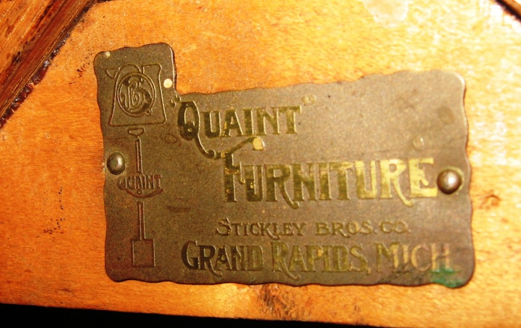 This is the mark of Stickley Brothers of Grand Rapids used in their original Mission style line called Quaint Mission in 1903.