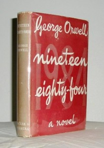 "Nineteen Eighty-Four"" with a sun-damaged spine."