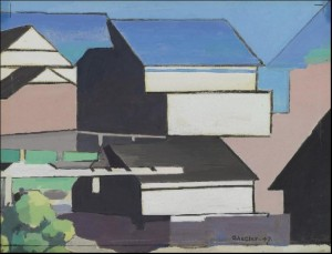 "The Blue Roof"" by Charles Sheeler."