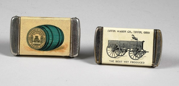 These Cello Match Safes featuring Tiffin Wagons & Standard Oil would expected to fetch $250-$350 at auction.