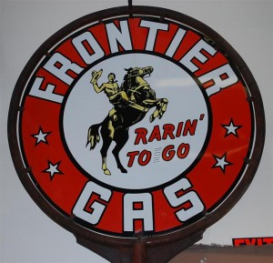"This Frontier Gas ""Rarin' to Go"" double-sided porcelain sign, one of only two known, sold for $26,400—more than three times the pre-auction estimate—at sale facilitated by Matthews Auctions on May 15-16, 2010."