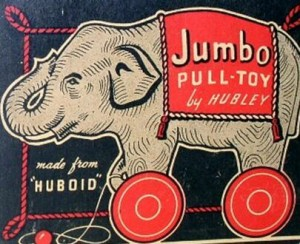 This colorful graphic appears on the side of the Hubley Jumbo box.
