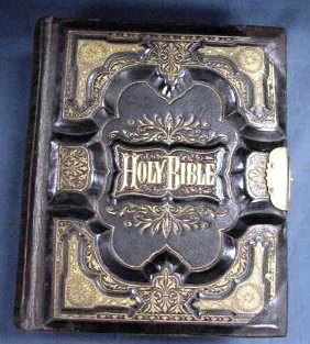 "This ""old family bible,"" published in 1877 by the O.A. Browning & Co., of Toledo, Ohio and London, Ontario. It's in fair to good condition and comparable examples often sell at auction in the $80-$150 range."