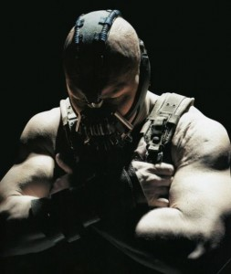 The villainous Bane is played by actor Thom Hardy.