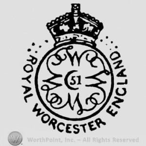The Royal Worcester date code system adopted in 1892 added dots on either side of the crown, beginning with a single dot for 1892. Eleven dots, as seen here, represent the year 1902.