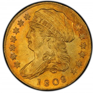 The 1808 Capped Bust Quarter Eagle graded PCGS MS 65 thundered to $2,350,000 on May 19 in New York.