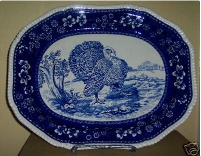 Very similar to the Ridgeways platter is this Copeland Spode platter in the No. 12 turkey from the Wild Bird Series. This cobalt transferware platter realized $1,558 in 2015 through eBay.