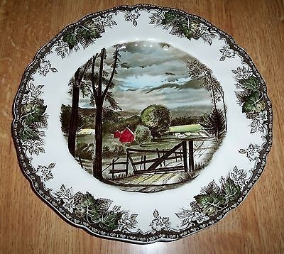 The Johnson Brothers Friendly Village pattern is not rare but is extremely popular. Dinner plates sell regularly on eBay for $20 each, as this one did in February 2014.