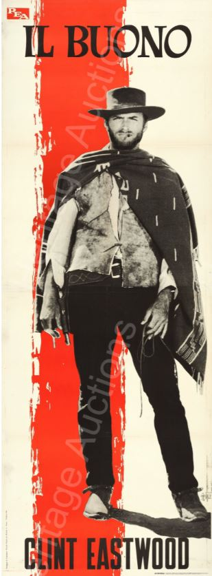 "This is one of three Italian premier display posters for 1966's ""The Good, the Bad and the Ugly""—measuring an amazing 39-inches by 110-inches—sold for an astounding $31,070 against an $18,000 estimate."