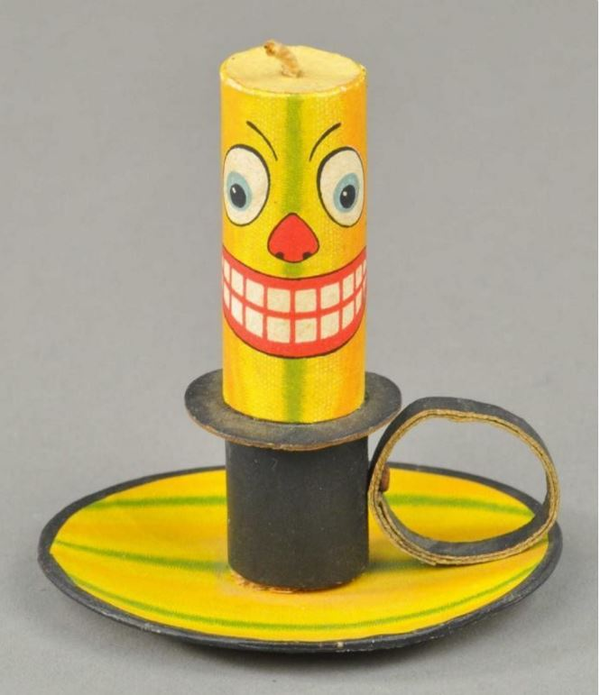 "This German-made Jack-O-Lantern candlestick and holder, which is designed to hold candy, can be found in Mark B. Ledenbach's book, ""Vintage Halloween Collection."" It sold at auction for $3,132.90 in 2013."