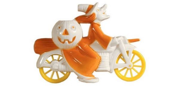 This Tico Toys/Rosbro Halloween witch on a white motorcycle with orange wheels, circa 1952, realized $2,082.87 in an 2013 eBay auction.