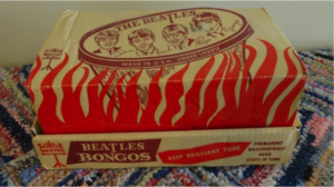 This set of Beatles bongo drums in their original box sold for $5,000 in 2015. They were valued at $600 in the pre-Internet days.