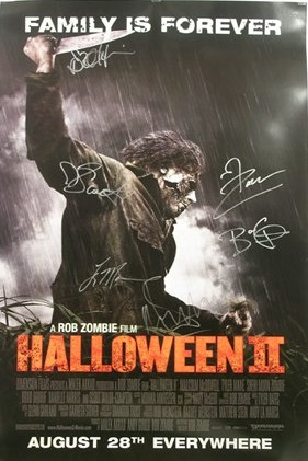 """This poster for the Rob Zombie remake of """"Halloween II,"""" signed by Sherri Moon Zombie, Malcolm McDowell, Rob Zombie, Brad Dourif, Scout Taylor-Compton and Danielle Harris, sold for $275."""