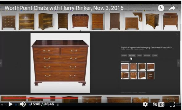 """In this episode of """"WorthPoint Chats with Harry Rinker"""" YouTube channel webcast, Harry takes a look at a chest of drawers the owner says is of English Chippendale vintage and design. One look tells Harry something different."""