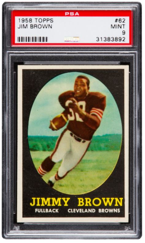 This 1958 rookie card for legendary Cleveland Browns Hall of Fame running back Jim Brown sold for $358,500. This is easily one of the most significant post-war football rookie cards in the hobby. Graded PSA Mint 9, the card is one of only five known to exist in this condition.