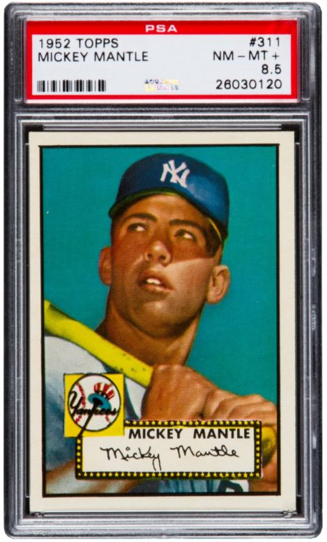 This 1952 Topps Mickey Mantle card, graded by Professional Sports Authenticators (PSA) as an 8.5 on a 10-point scale, sold for $1.3 million at Heritage Auctions. It is one of the finest known examples of Mantle's most coveted card.