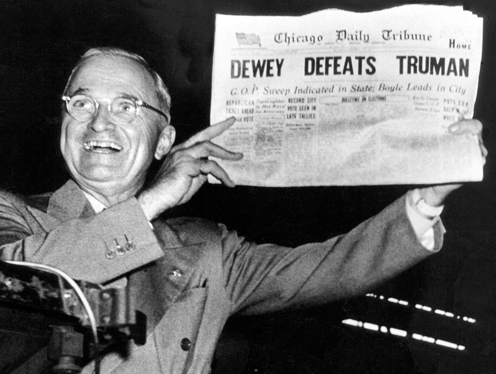About 150,000 copies of Chicago Daily Tribune with the pre-printed—and wrong—headline were released before the real news of Harry S Truman's election was announced. Recent auction values of the first edition of the paper, depending on condition, have been from $600 to $1,700.