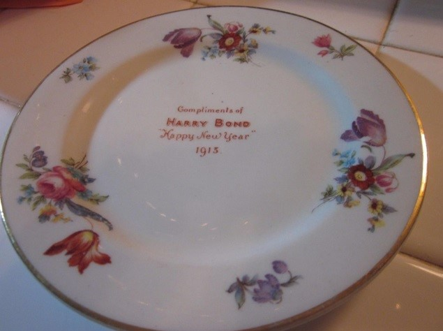 This 6-inch piece of restaurant china, dated 1913, is from the Hotel Bond in Hartford, Conn. It was given to guests who purchased the hotel's New Year's Eve dinner and sold for $19 in July 2016.