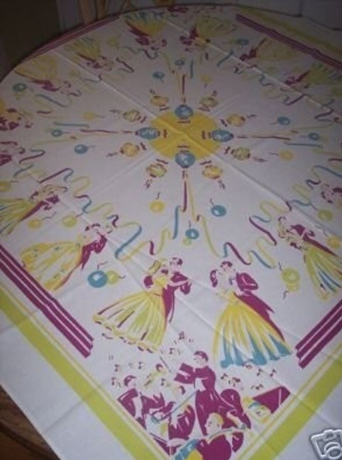 A New Year's Eve cotton tablecloth is a rare discovery. This 1950s version, covered with the holiday's iconic images, sold for $38 in 2006.