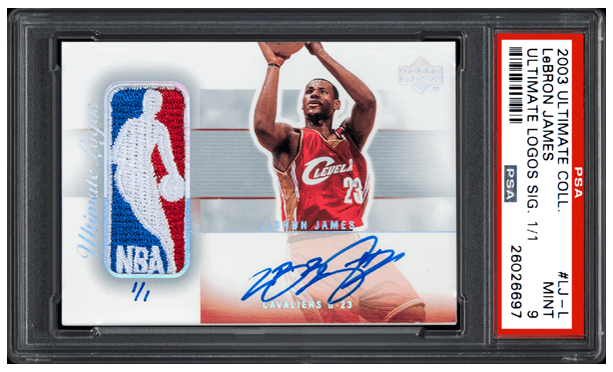 2003 Upper Deck Ultimate Collection, Ultimate Logos, Lebron James 1/1 – PSA Mint 9: $312,000, Goldin Auctions, October, 2016