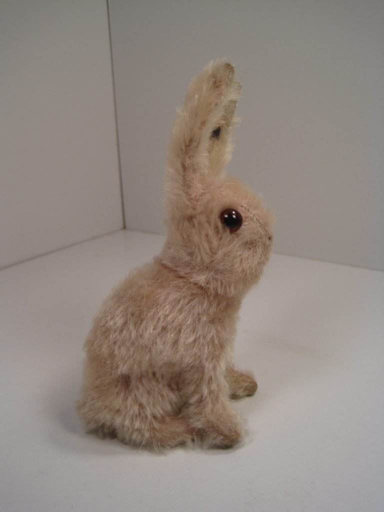 pink mohair rabbit side view