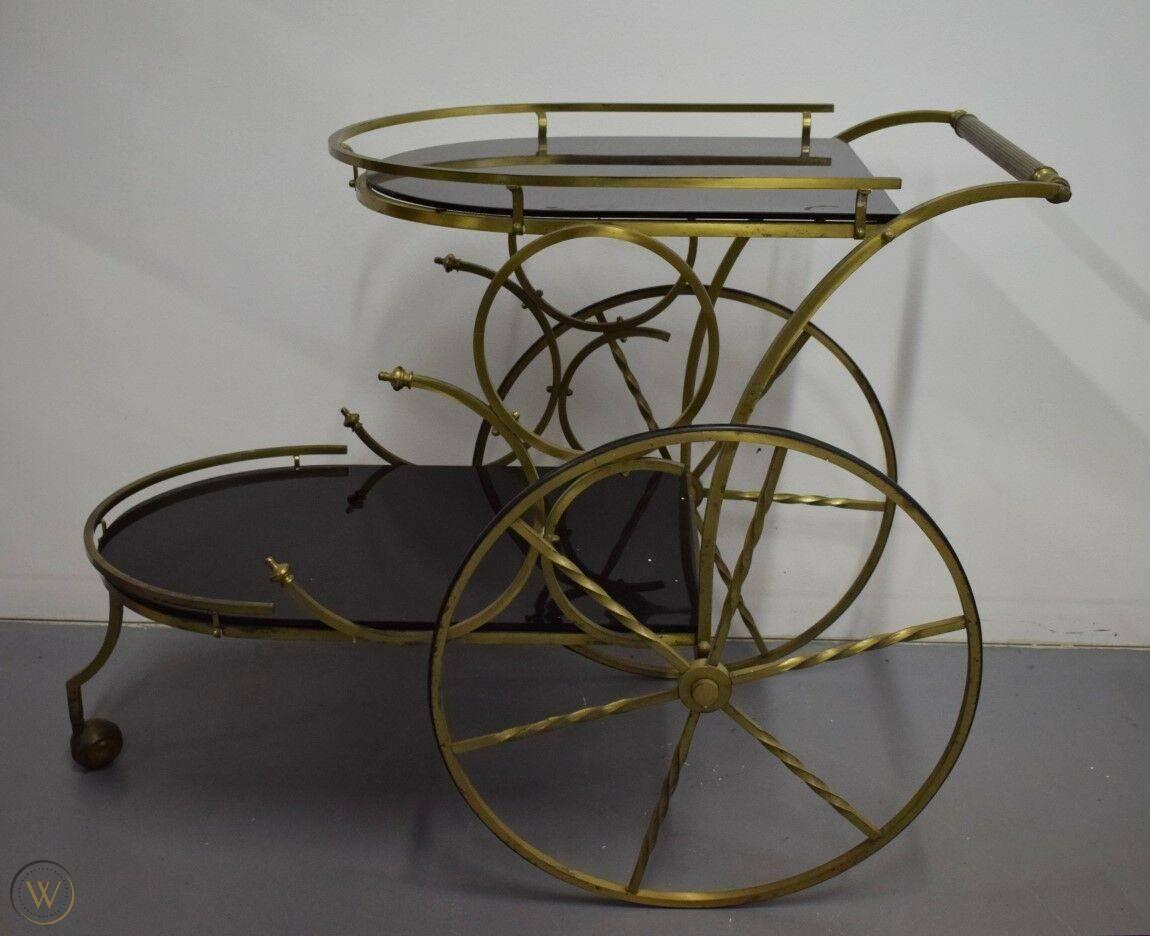Vintage brass bar cart black tinted 1 c587f905023bcb1297d968a1deefabc9