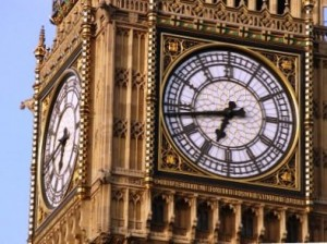 A close-up view of the Big Ben clock face.