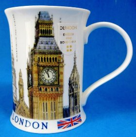 A bone china mug from the Dunoon, featuring Big Ben, along with the statue of Eros in Piccadilly, St Pauls Cathedral.