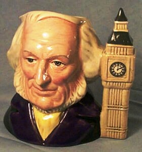 A Royal Doulton porcelain character jug featuring John Doulton with a Tower of Big Ben handle (D6656, 1980).